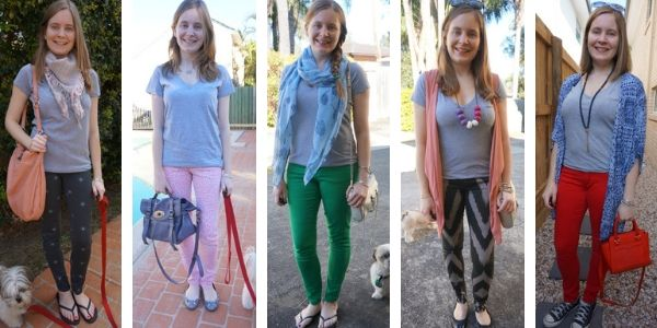 5 ways to wear a grey tee with different jeans bright and printed | awayfromblue blog