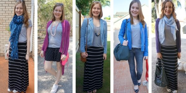 5 outfit ideas ways to wear grey v-neck tee | away from the blue