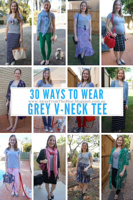 30 ways to wear a grey v neck tee affordable outfit ideas | away from blue blog