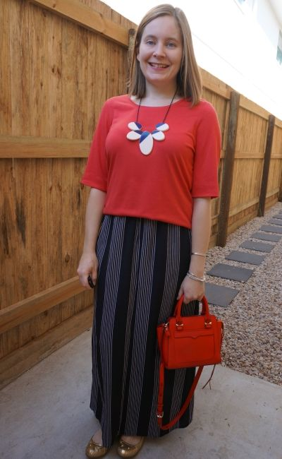 red slouchy tee with vertical stripe maxi skirt red rebecca minkoff micro avery bag