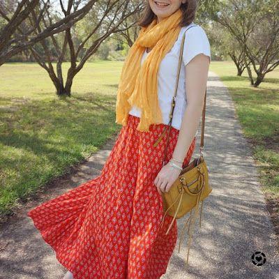 awayfromblue Instagram | spring scarf style red printed maxi skirt white tee cross body bag