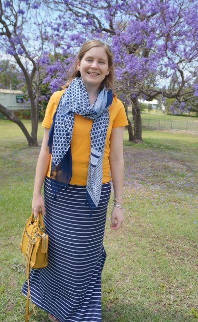 brisbane spring style jacaranda outfit mustard tee print mix scarf stripe maxi skirt | awayfromblue