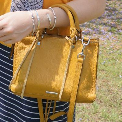 navy skirt with Rebecca Minkoff micro Regan satchel in Harvest Gold | awayfromtheblue