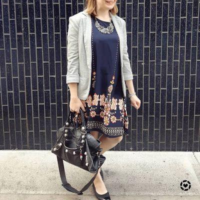 awayfromblue Instagram | Shein navy flower print flowy dress with jersey blazer black accessories balenciaga part time bag
