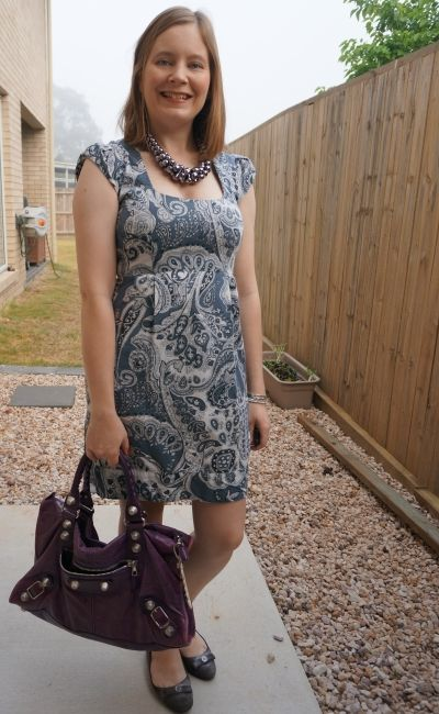 french connection blue Paisley print sheath dress with purple balenciaga work bag | away from blue