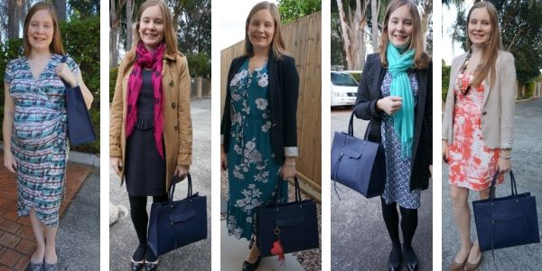 5 ways to wear a navy rebecca minkoff mab tote bag with printed dresses | awayfromblue
