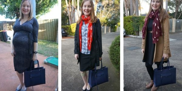 3 ways to wear a navy tote bag with black outfits | away from the blue