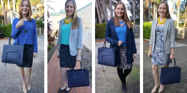 4 outfit ideas monochromatic blue outfits with navy MAB tote bag | awayfromblue