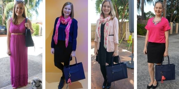 4 pink and navy outfit ideas with rebecca minkoff mab tote bag | away from the blue