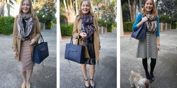 3 print mixing outfit ideas with navy tote bag rebecca minkoff mab in moon | away from the blue