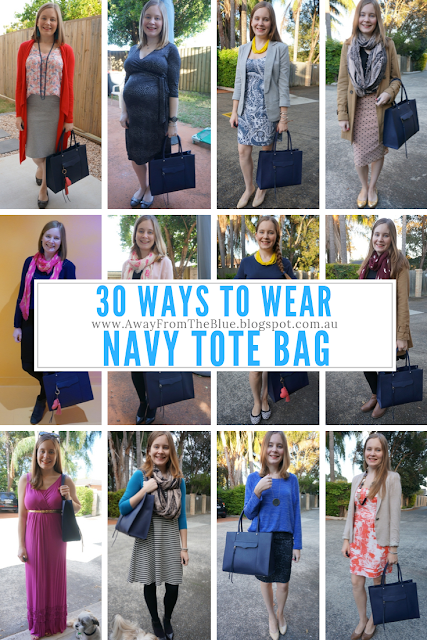 30 ways to wear Navy tote bag Rebecca Minkoff MAB medium tote in moon | awayfromblue blog