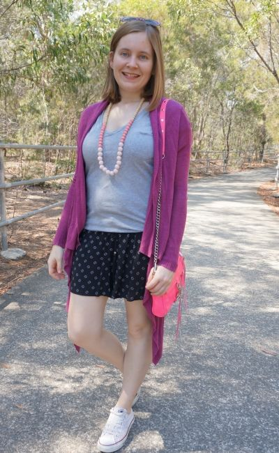 magenta cardigan with pink accessories grey tee and printed shorts converse spring mum outfit | awayfromblue