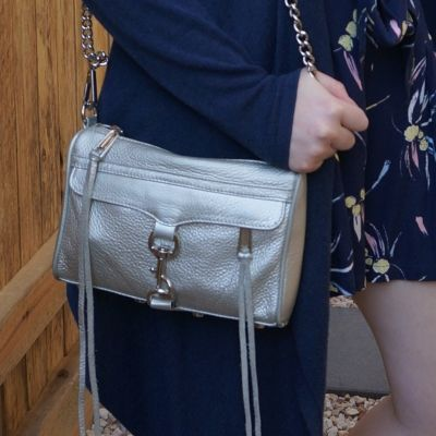 navy outfit with Rebecca Minkoff metallic silver mini MAC | away from the blue