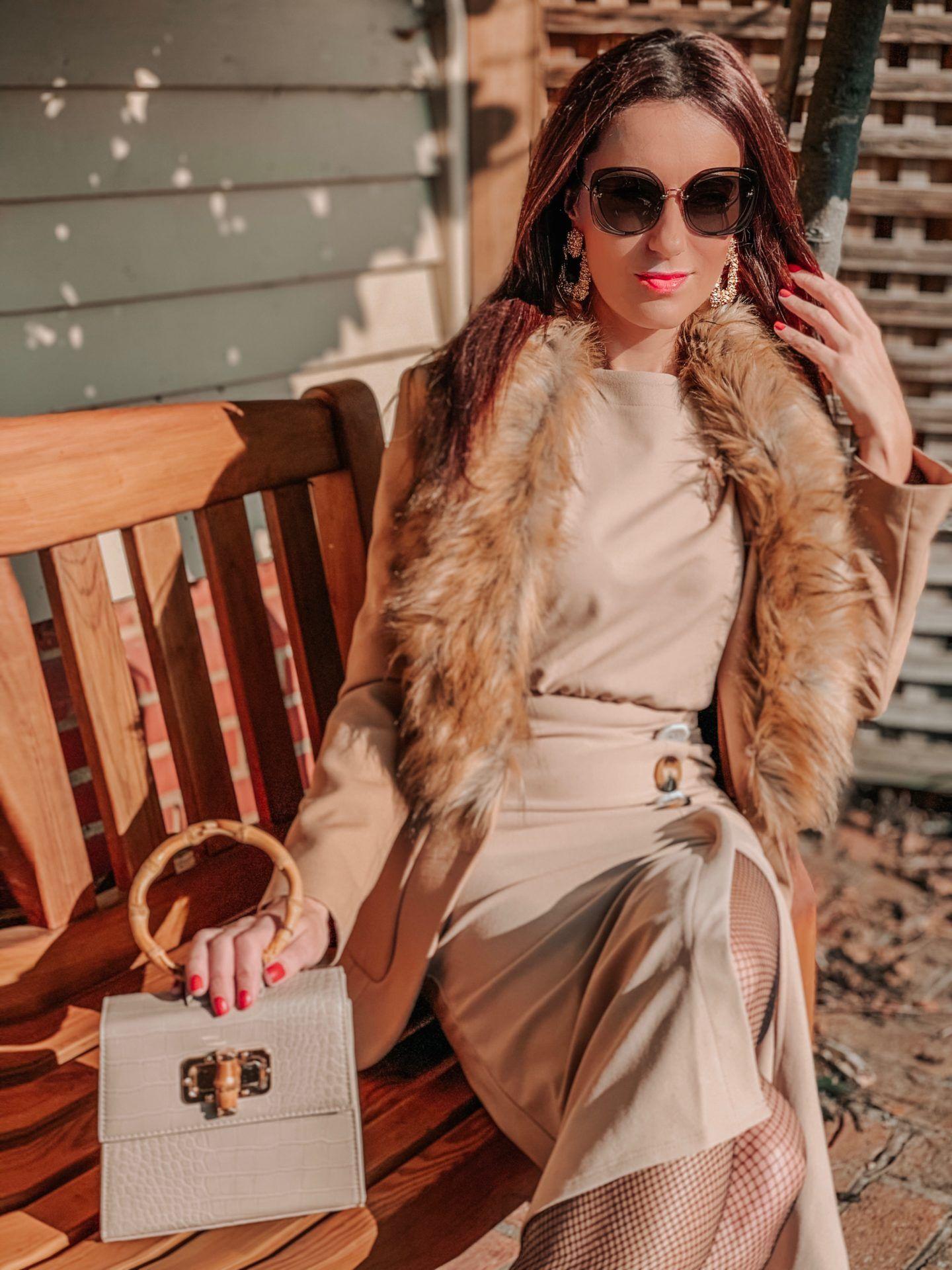 ASOS DESIGN batwing shell button pencil dress | Liars & Lovers cream mock croc bamboo handle cross body bag | Carvela Pointed Asymmetric Strap Heels | MIU MIU Scenique cut-out eyewear | Zara TEXTURED GEOMETRIC EARRINGS | Elegant Duchess Boutique Brooch