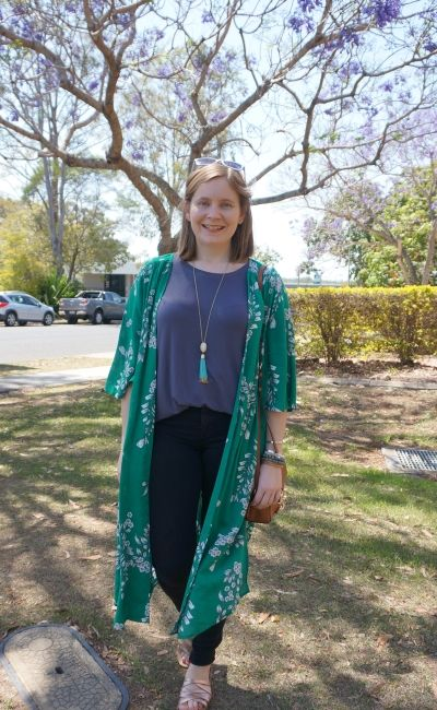 Jeanswest Delilah Long Line Kimono in Green Floral duster with grey tee skinny jeans | awayfromblue