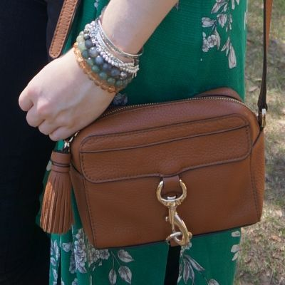 Rebecca Minkoff MAB Camera Bag in almond with bracelet stack green floral kimono | awayfromtheblue