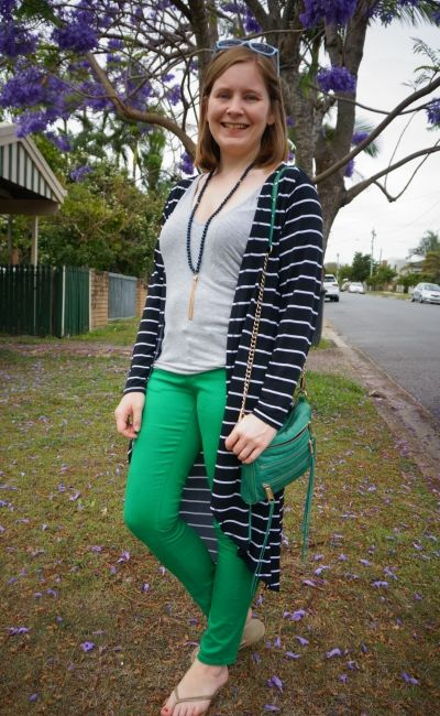 striped duster with green skinny jeans grey slouchy tee spring mum outfit | away from blue