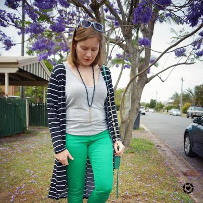 awayfromblue Instagram | striped duster with green skinny jeans and jacaranda spring