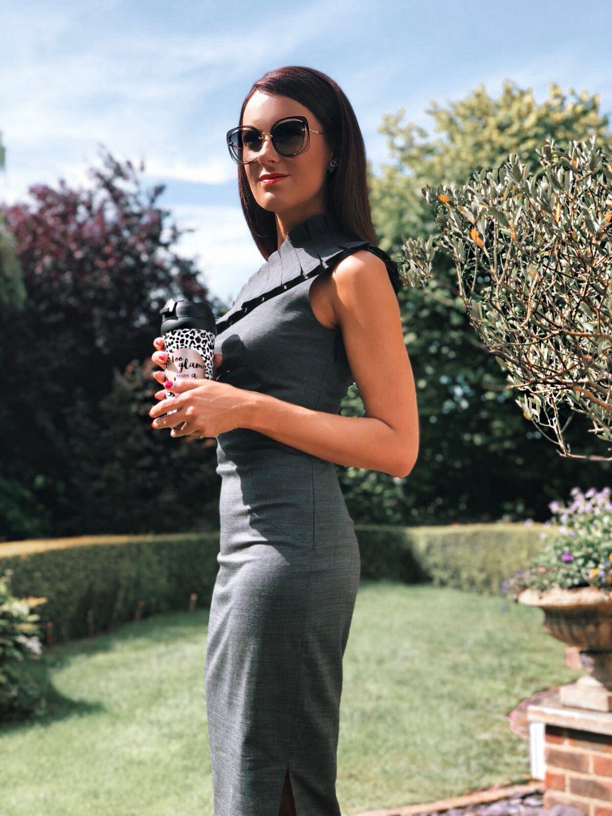 Ted Baker TREESAD Asymmetric ruffle detail dress | Ted Baker VYIXIN Pointed toe courts | Swarovski FANTASTIC PIERCED EARRINGS, GREY, RHODIUM PLATING | Miu Miu sunglasses