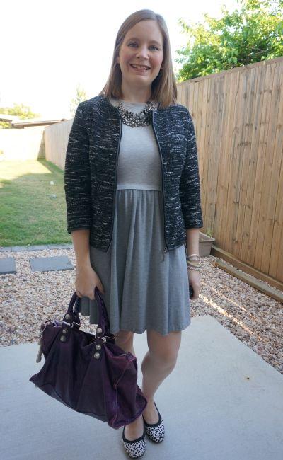 monochrome office outfit grey skater dress boucle jacket leopard print flats and purple balenciaga work bag | awayfromblue