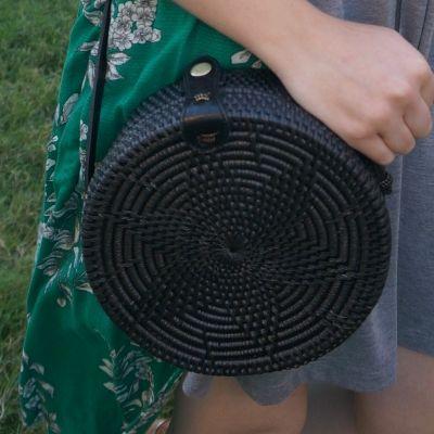 Amerii medium sling rattan bag in black | away from the blue
