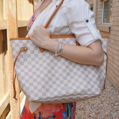 floral maxi dress with Louis Vuitton MM damier azur neverfull | awayfromtheblue