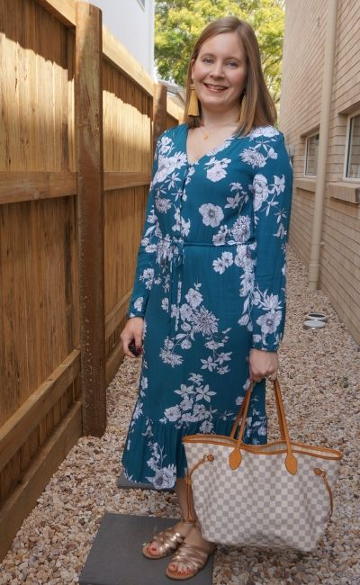 Kmart teal floral print midi dress with gold accessories and Louis Vuitton damier azur neverfull | away from blue