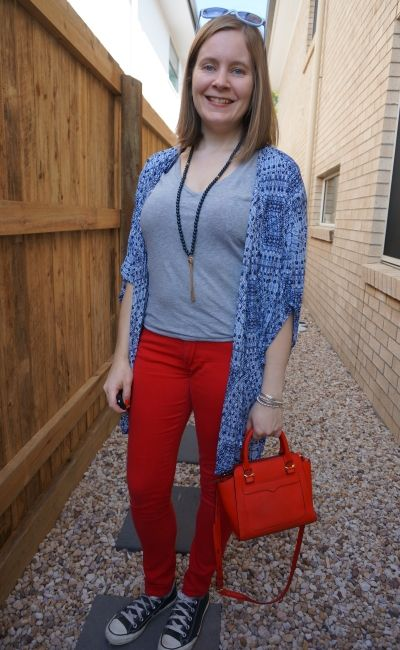 navy printed kimono with grey tee red skinny jeans matching bag SAHM spring outfit | away from blue