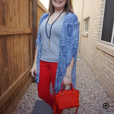 awayfromblue Instagram | skinny jeans and kimono outfit grey tee with blue and red micro avery bag
