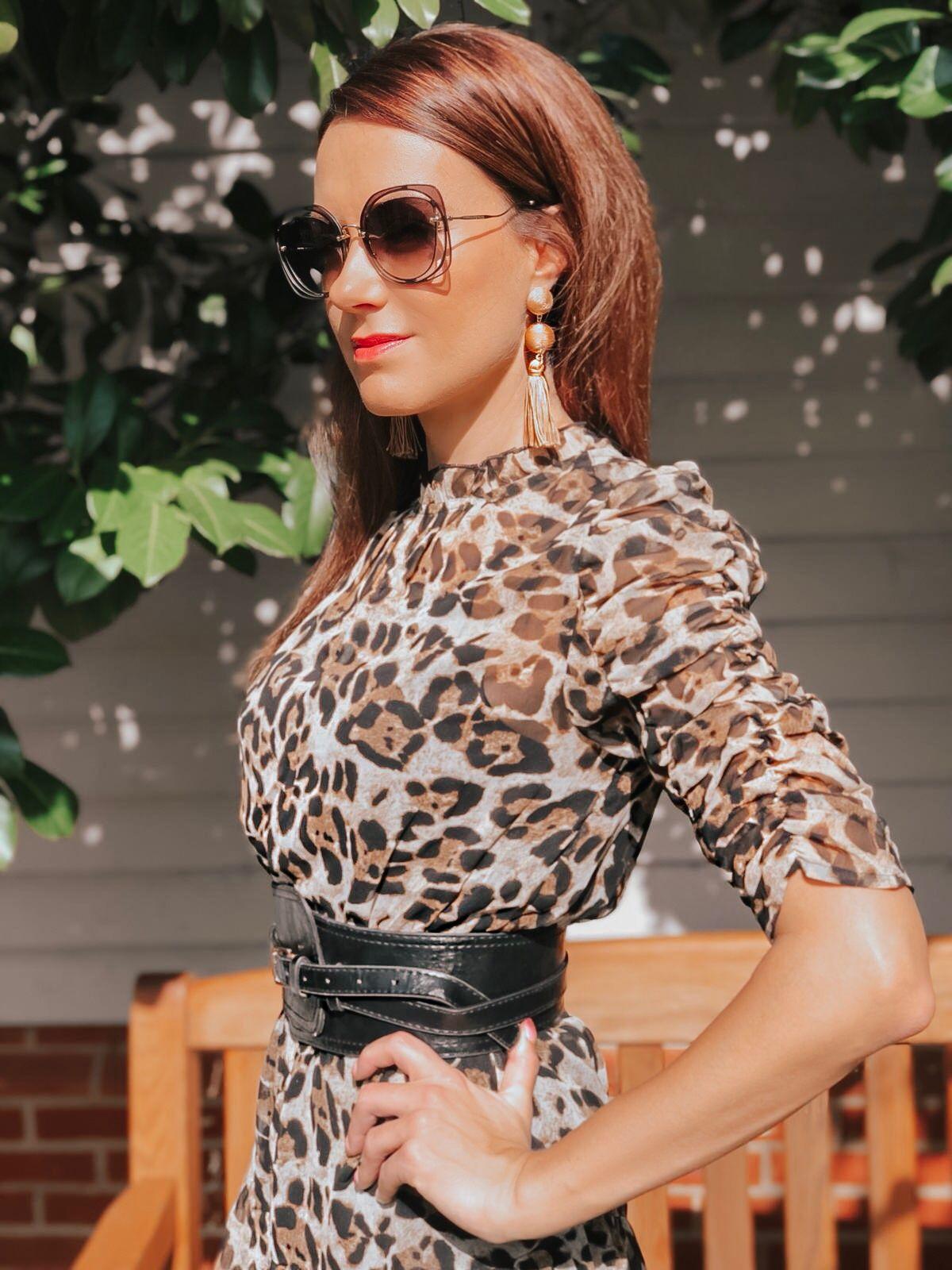 Elegant Duchess Fashion V by Very Ruched Sleeve Frill Tea Dress - Leopard Print   Ted Baker sheer court shoes   Miu Miu sunglasses   Swarovski earrings Asos belt   Calvin Klein clutch bag