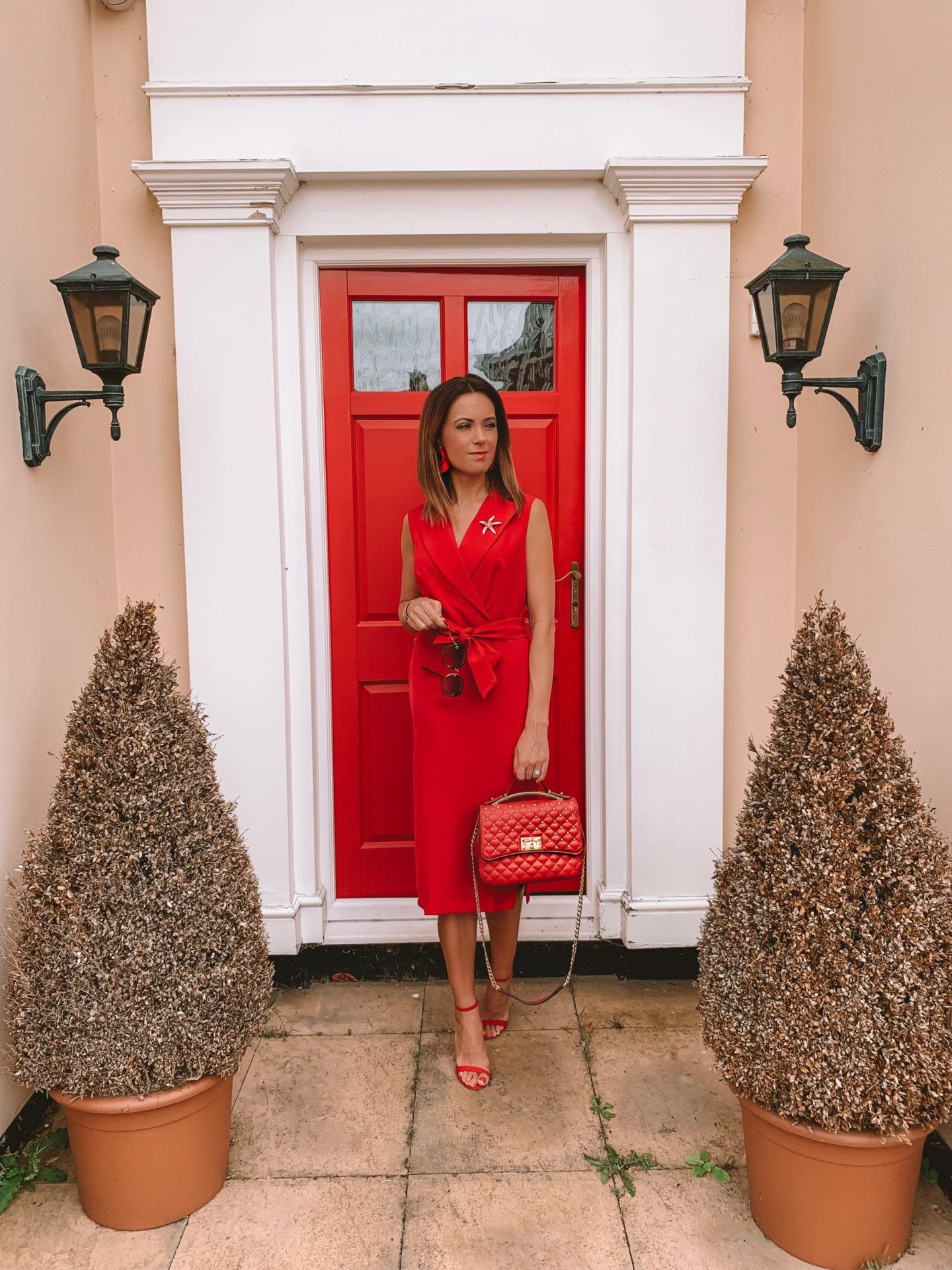 CLOSET LONDON Red Tie Waist Pencil Dress | Elegant Duchess Boutique Brooch