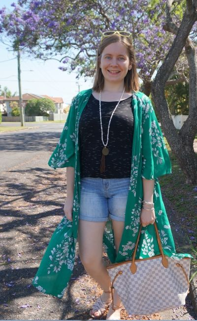 Jeanswest Delilah Long Line Kimono in Green Floral with louis vuitton neverfull shorts and tee | away from the blue