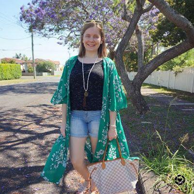 awayfromtheblue Instagram | Jeanswest Delilah Long Line Kimono in Green Floral jacaranda tree and denim shorts tee Louis Vuitton neverfull