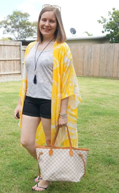 Jeanswest Eliza summer poncho in yellow floral with denim shorts and space dye tee LV neverfull beach picnic outfit | awayfromblue