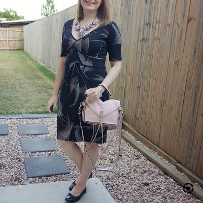 awayfromtheblue | leona Edmiston black fern print dress matching rebecca minkoff blush messenger bag