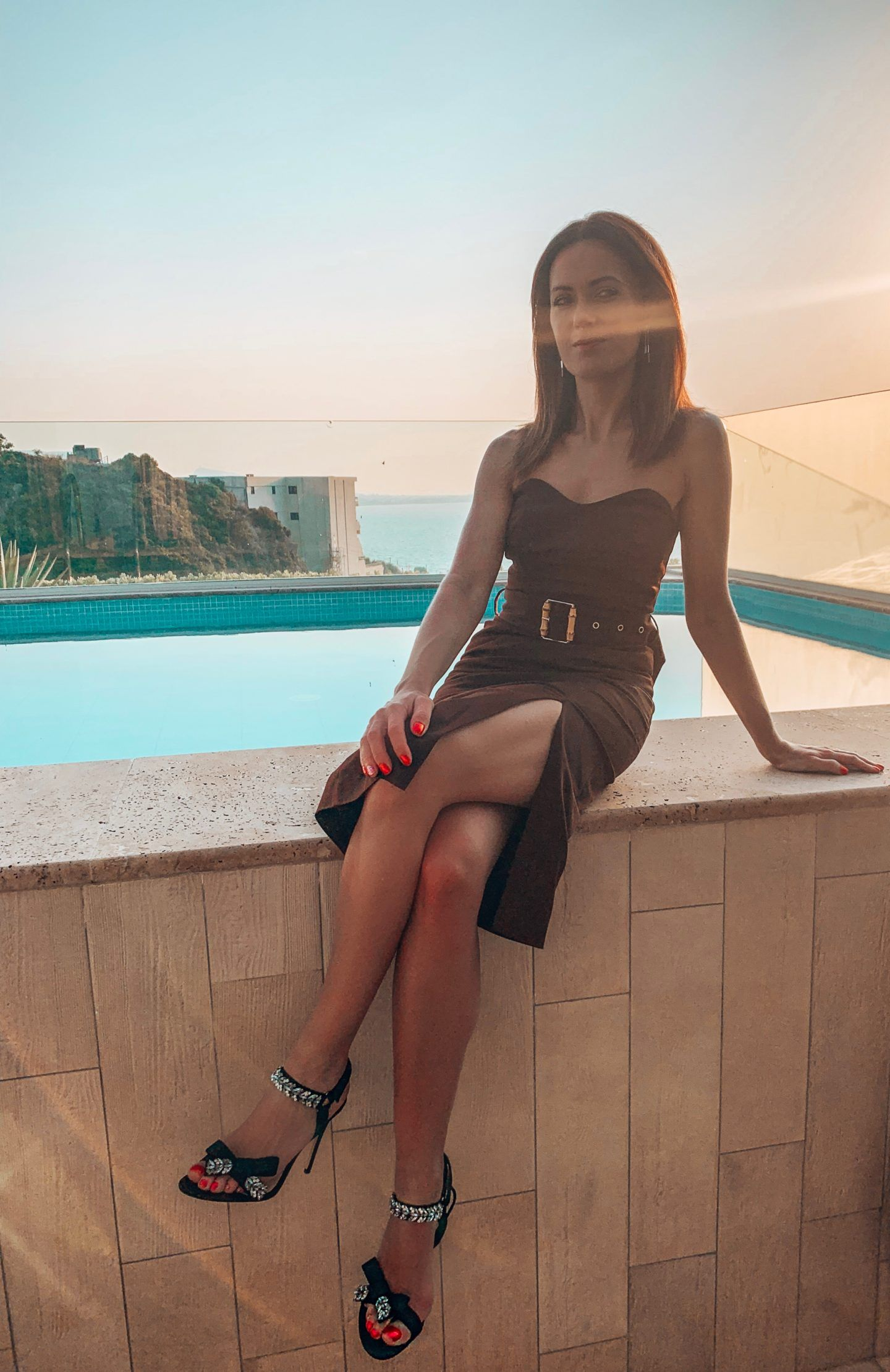 Atrium Platinum Luxury Resort Hotel and SPA, Rhodes Greece River Island pencil dress with bamboo belt in chocolate