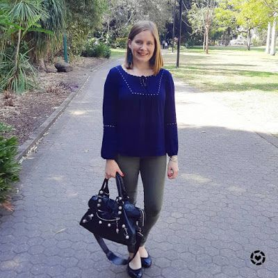 awayfromtheblue Instagram | jeanswest chana navy peasant blouse with olive skinny jeans balenciaga part time bag