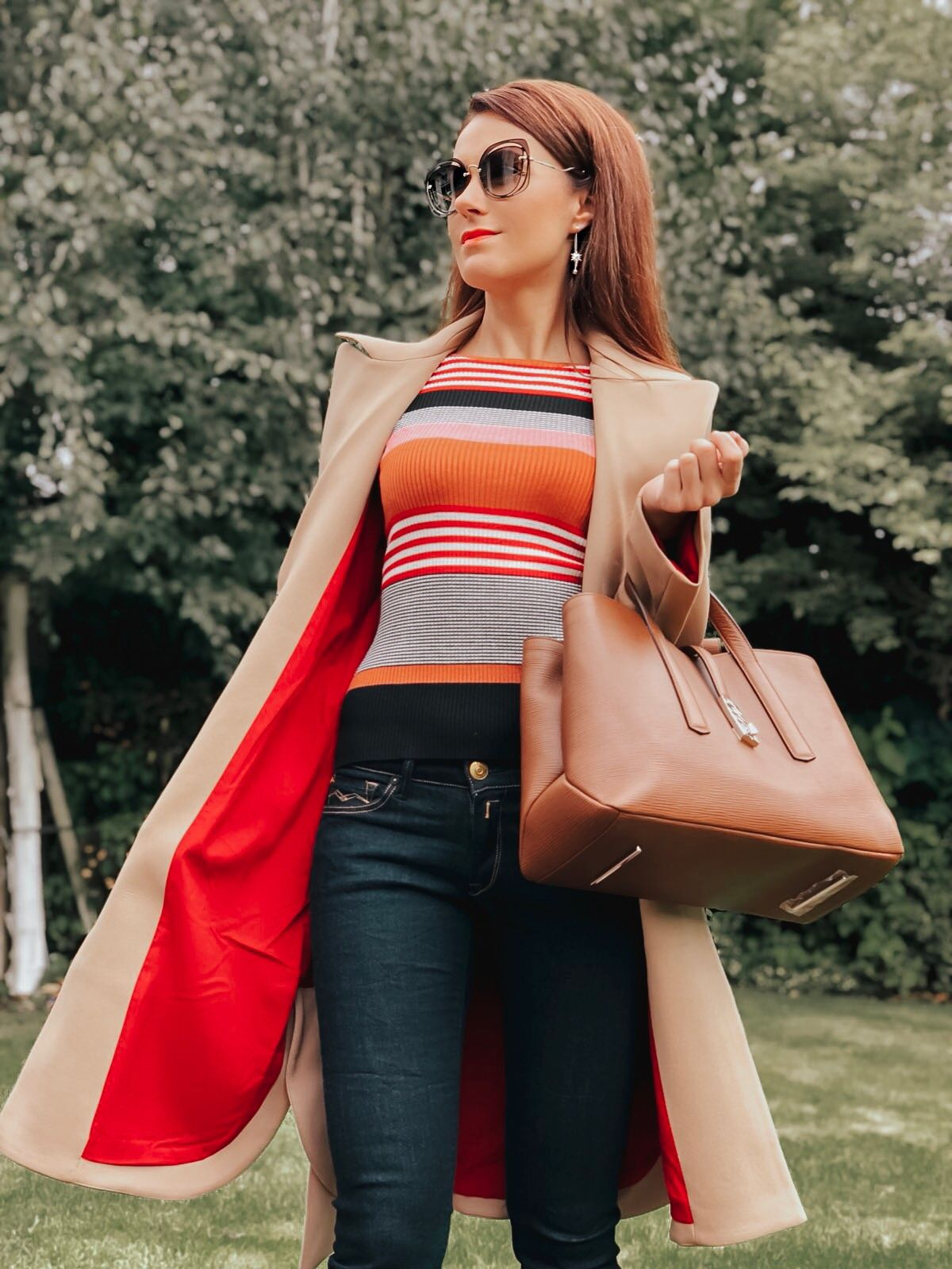 Hugo Boss Boss Veronika Leather Tan Tote Bag   Armani Exchange Trench Coat   River Island Stripe Lace Up Sleeve Bodycon Top   V by Very Finchley Knitted Peep Toe Shoeboot   Miu Miu sunglasses   Swarovski FANTASTIC CHAIN PIERCED EARRINGS, WHITE   Replay Luz Mid Rise Rinse Jean with Contrast Stitch