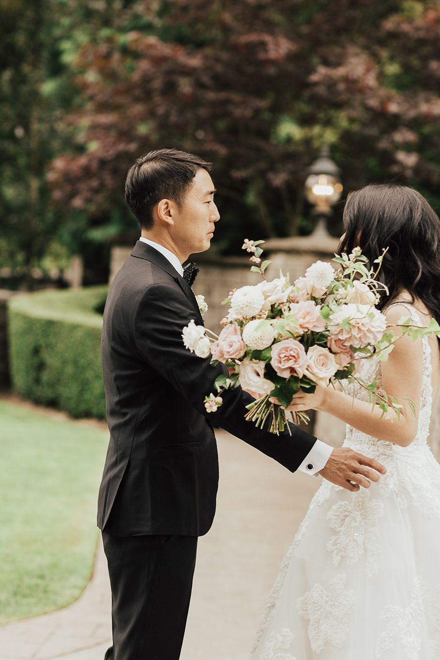Seattle outdoor wedding, First Look photos, groom cries, Seattle fashion blogger Just A Tina Bit wedding