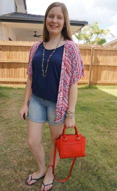 navy slouchy tee denim shorts red printed kimono and micro avery bag summer mum style   awayfromblue
