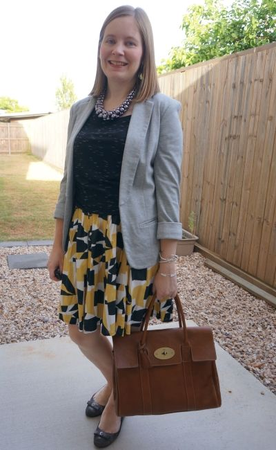 printed pleated mustard skirt with space dye tee grey jersey blazer mulberry bayswater | away from blue