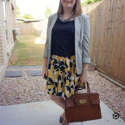 awayfromtheblue Instgaram | space dye tee with jersey blazer mustard printed pleated skirt