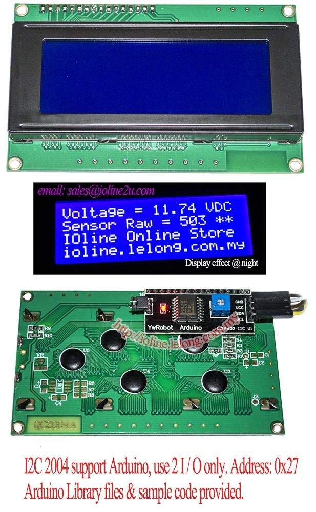 Connecting A 20x4 HD44780 LCD with YwRobot LCM1602 IIC V1