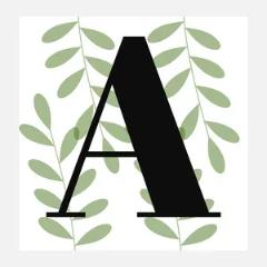 botanical monogram square sticker Sticker