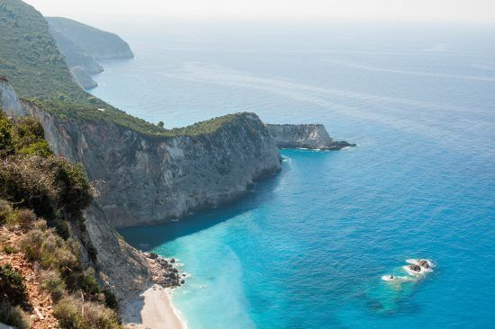 Aerial shot of the beach at Lefkada, Greece