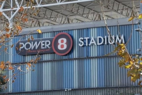 The Power8 sign emblazoned on RCD Espanyol's stadium in Barcelona