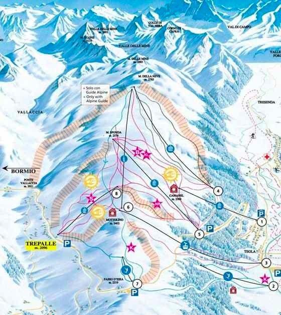 Livigno Italy Map.Mottolino In Livigno Snowpark And Freeride In Italy Snowskiguru