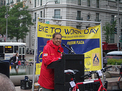 Eleanor Holmes Norton Speaking at the Freedom Plaza, DC Bike to Work Day Pitstop