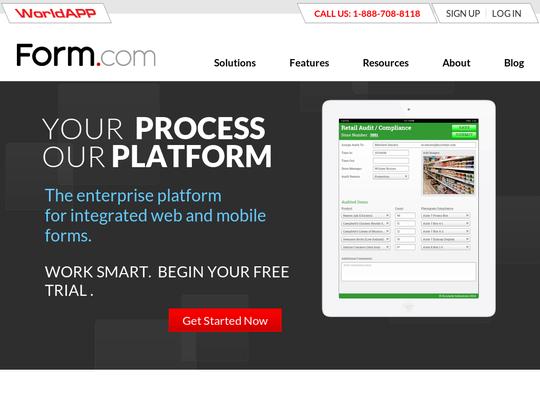 Tablet screenshot of form.com