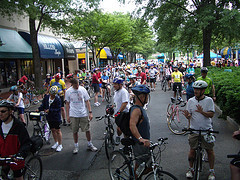 Cyclists about to start the Arlington and Alexandria Community Bike Ride